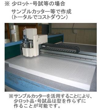 ※ 少ロット・号試作等の場合 サンプルカッター等で作成(トータルでコストダウン) ※サンプルカッターを活用することにより、少ロット品・号試作品は型を作らずに作ることが可能です。
